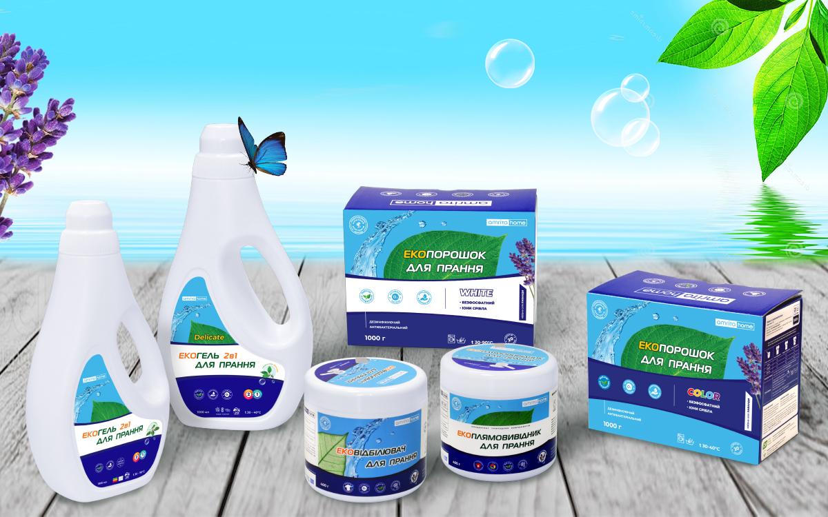 Amrita Home: Екогель 2в1 для прання кольорових і білих речей, Екогель 2в1 для прання делікатних речей, Екопорошок для прання кольорових речей, Екопорошок для прання білих речей, Екоовідбілювач і Екоплямовивідник для прання