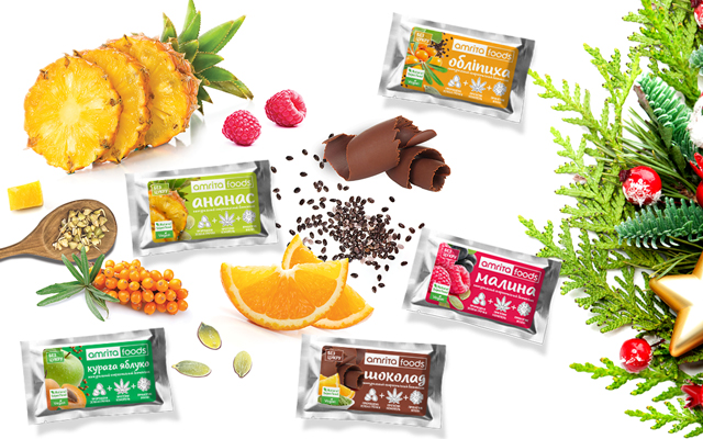 Енергетичні батончики Амріта: обліпиха, ананас, шоколад, малина, курага-яблуко