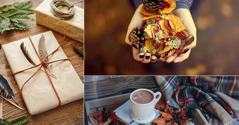 Чашка кави, осіннє листя, ковдра